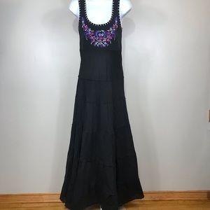 Karen Kane black flower embroidered beach dress S